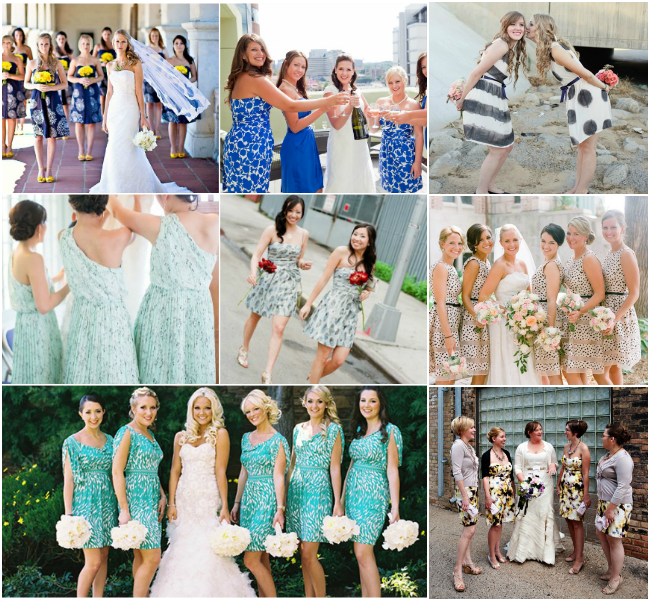Modern-Patterned-Bridesmaids-Dresses