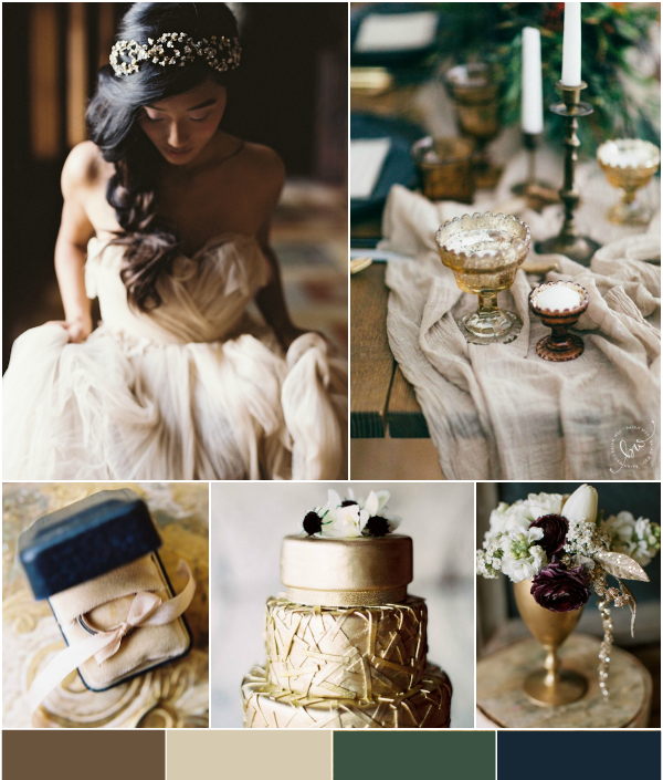 Golden Romance: Gold, Amber, Blush, Blue, White and Green