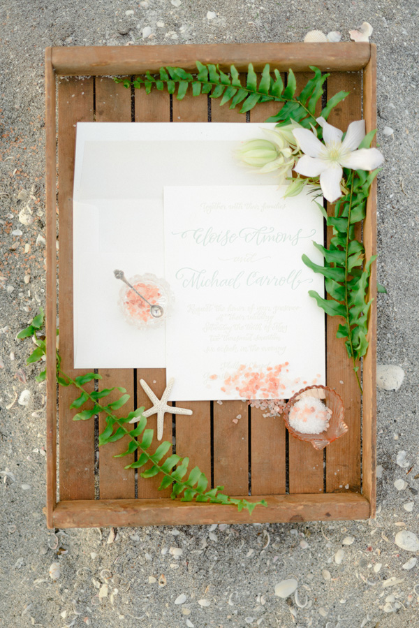 Elegant Beach Bridal Inspiration | Molly McKinley Designs | The Celebration Society | Rustic White Photography