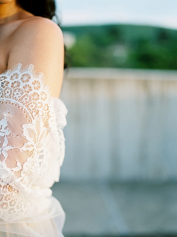 Bride with Lace Mantilla Veil | Light and Lace Wedding Inspiration | Alexandra Elise Photography