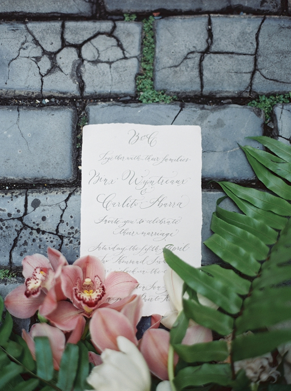 Elegant Calligraphy on a Wedding Invitation for a Caribbean Destination Wedding Editorial By Meggie Francisco Events and Tracy Enoch Photography