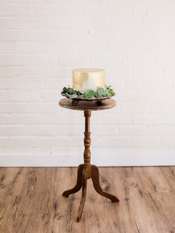 Gold Wedding Cake on Vintage Stand| The Wait: Reflective Fine Art Bridal Inspiration By Live View Studios