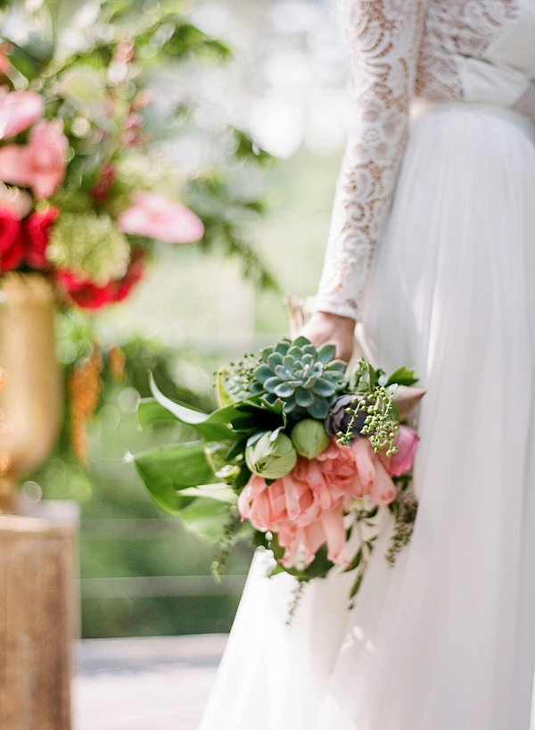 Pink and Green Bouquet | Dream Elopement In Bali By Audra Wrisley Photography