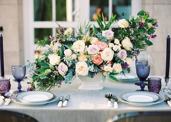 Elegant and Romantic Tablescape with Purple and Blue Glassware | Garden Bridal Shower Inspiration By Yulia Tarasova Photography