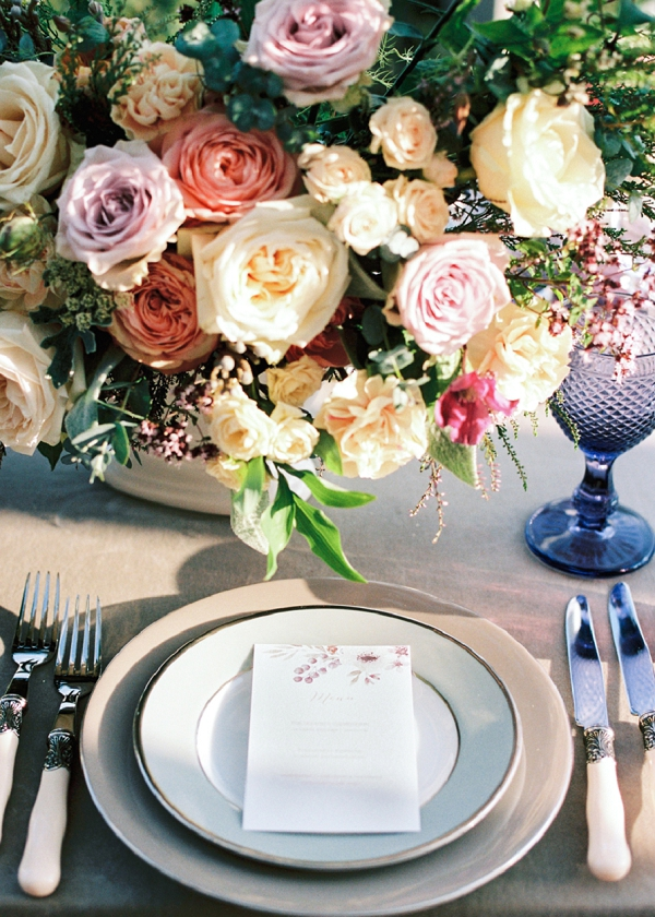 Romantic Place Setting With Floral Centerpiece | Garden Bridal Shower Inspiration By Yulia Tarasova Photography