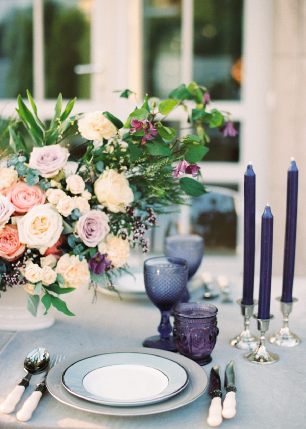 Purple Glassware and Candles on an Elegant Tablescape | Garden Bridal Shower Inspiration By Yulia Tarasova Photography