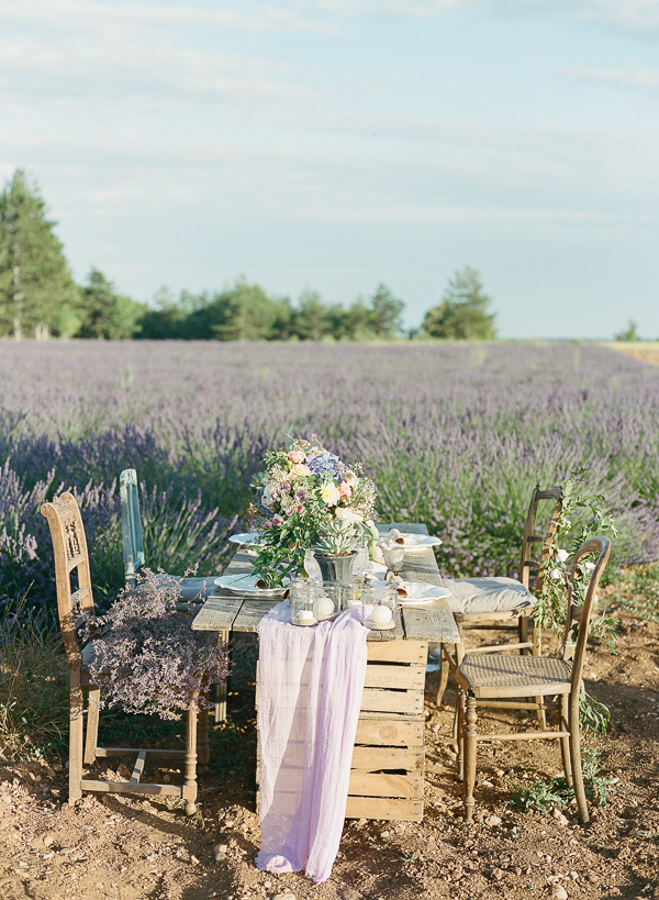 Rustic Provence Wedding Tablescape | Fine Art Destination Wedding Inspiration In The Corn Fields Of Aix en Provence by Julie Michaelsen Photography