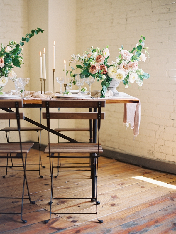 Spring Tablescape | Romantic Industrial Wedding Inspiration | Haystack Film Community | Grit + Gold