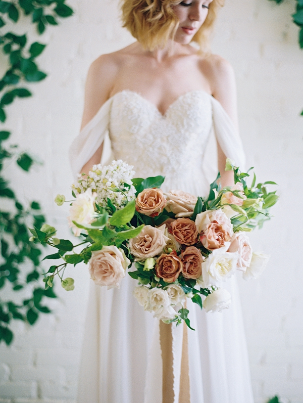 Bride with Romantic Bouquet | Romantic Industrial Wedding Inspiration | Haystack Film Community | Grit + Gold