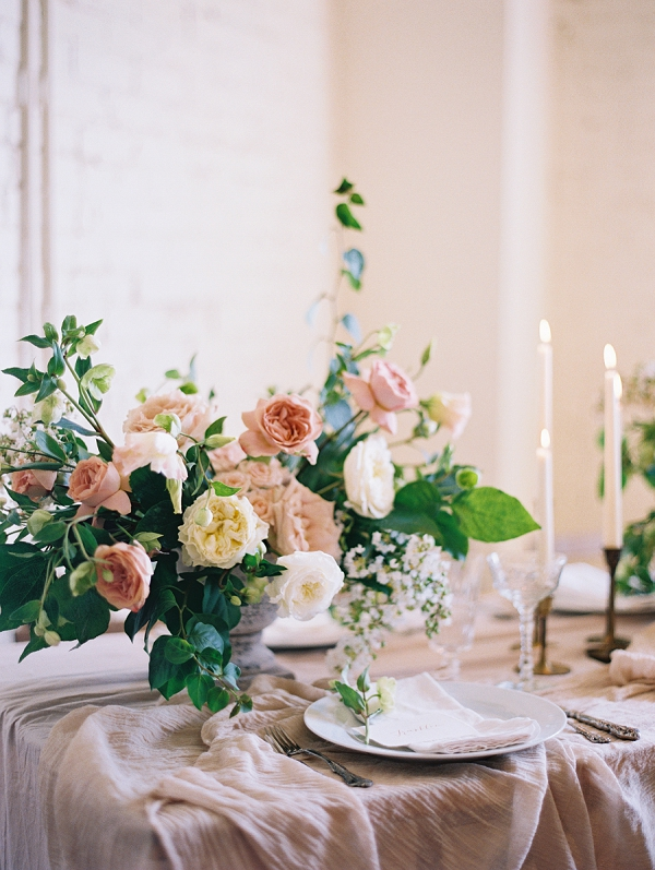 Blush Pink and Ivory Floral Centerpiece | Romantic Industrial Wedding Inspiration | Haystack Film Community | Grit + Gold