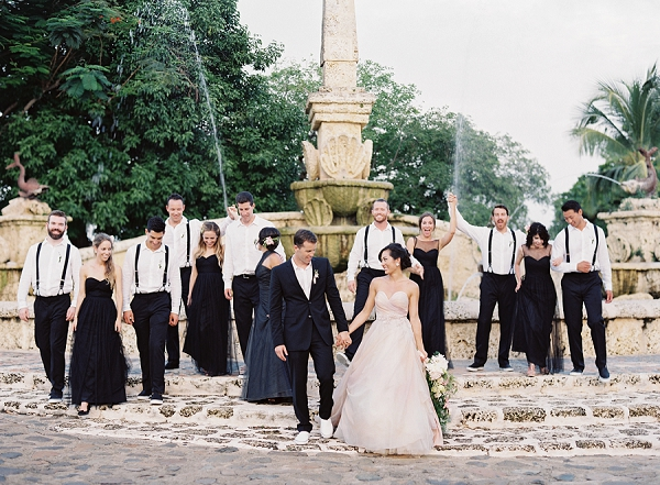 Elegant Bride and Groom with Bridal Party | Dominican Republic Resort Wedding By Carrie King Photographer