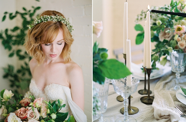 Bride wearing Floral Headpiece | Romantic Industrial Wedding Inspiration | Haystack Film Community | Grit + Gold