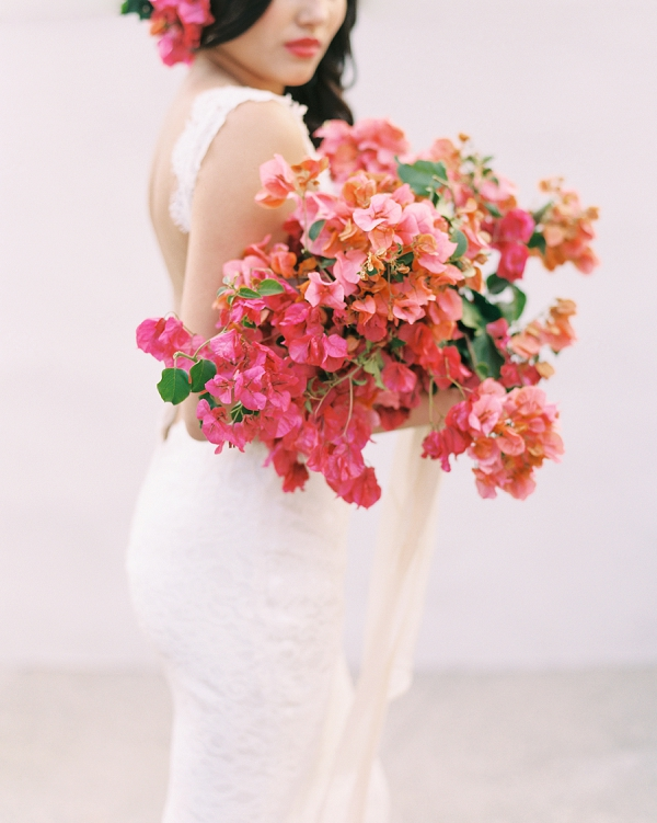 Vibrant Ombre Bougainvillea Wedding Bouquet | Old World Spanish Style Wedding Inspiration By Savan Photography