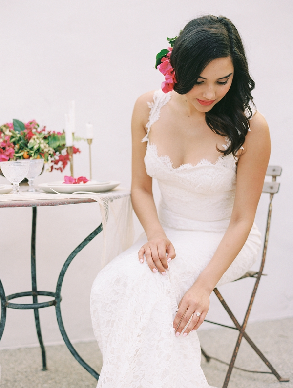 Bride in Lace Wedding Dress | Old World Spanish Style Wedding Inspiration By Savan Photography