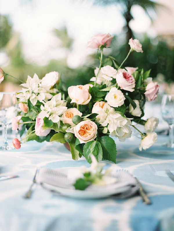 Peach Blush and Ivory Floral Centerpiece | Nicaragua Destination Wedding by Brumley & Wells | Fine Art Film Wedding Photography