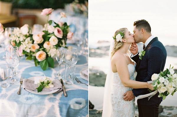 Floral Centerpiece and Tablescape with Patterned Linens | Bride and Groom Kissing in Nicaragua | Nicaragua Destination Wedding by Brumley & Wells | Fine Art Film Wedding Photography