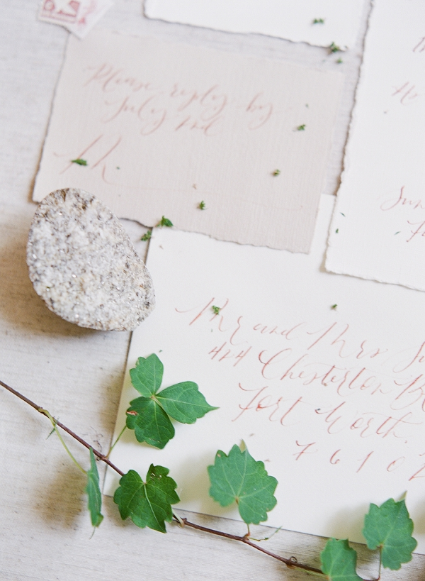 Calligraphy | Romantic Industrial Wedding Inspiration | Haystack Film Community | Grit + Gold