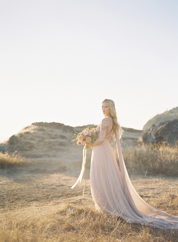 Bride in Blush Pink Emily Riggs Bridal Gown | Coastal Sunset Bridal Inspiration by Heather Payne Photography