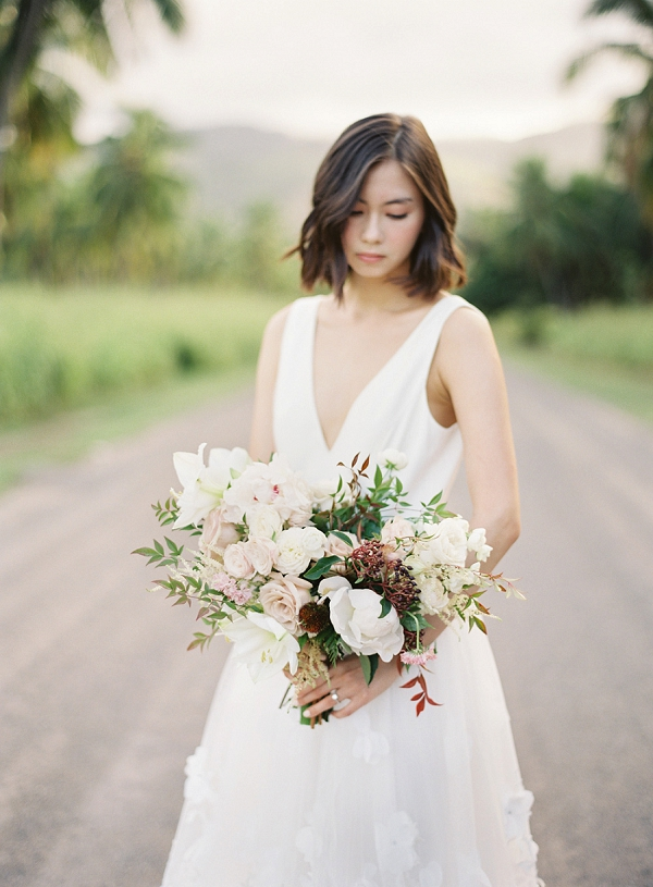 Textured Wedding Bouquet | Hawaii Wedding Ideas with Old World Charm from Christine Clark Photography