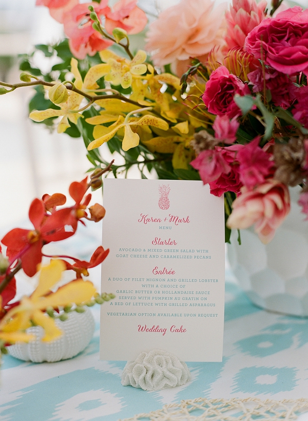 Wedding Menu with Pineapple Motif | An Elegant Tropical Wedding In Jamaica By Fine Art Photographer Sylvie Gil Photography