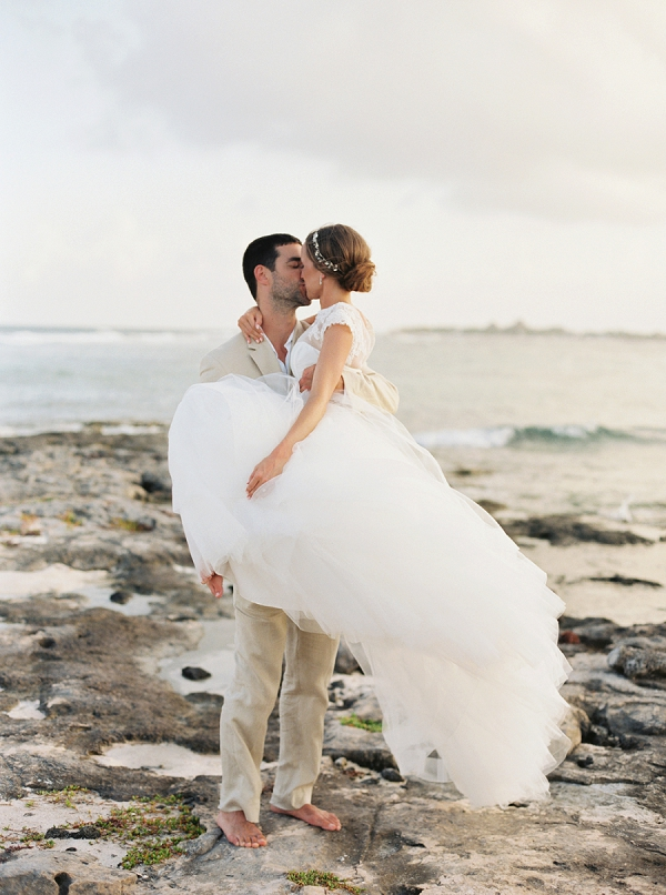 Romantic Bride and Groom Portrait | A Beach Chic Wedding in Tulum by Michelle Boyd Photography