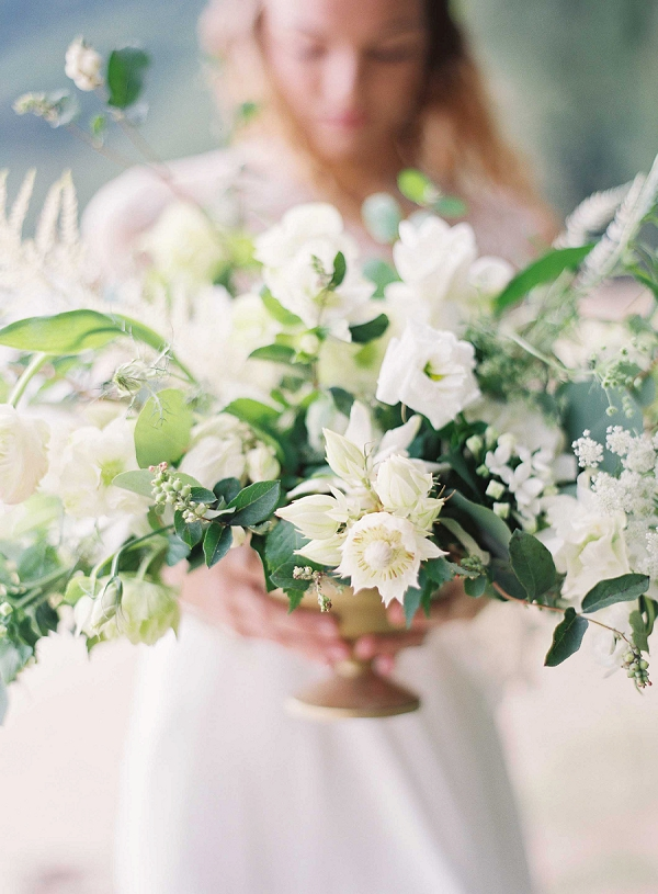 Green and White Tropical Centerpiece | Ethereal Sunrise Bridal Portraits in Hawaii by Christine Clark Photography
