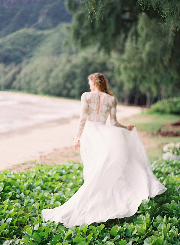 Long Sleeved Wedding Dress | Ethereal Sunrise Bridal Portraits in Hawaii by Christine Clark Photography