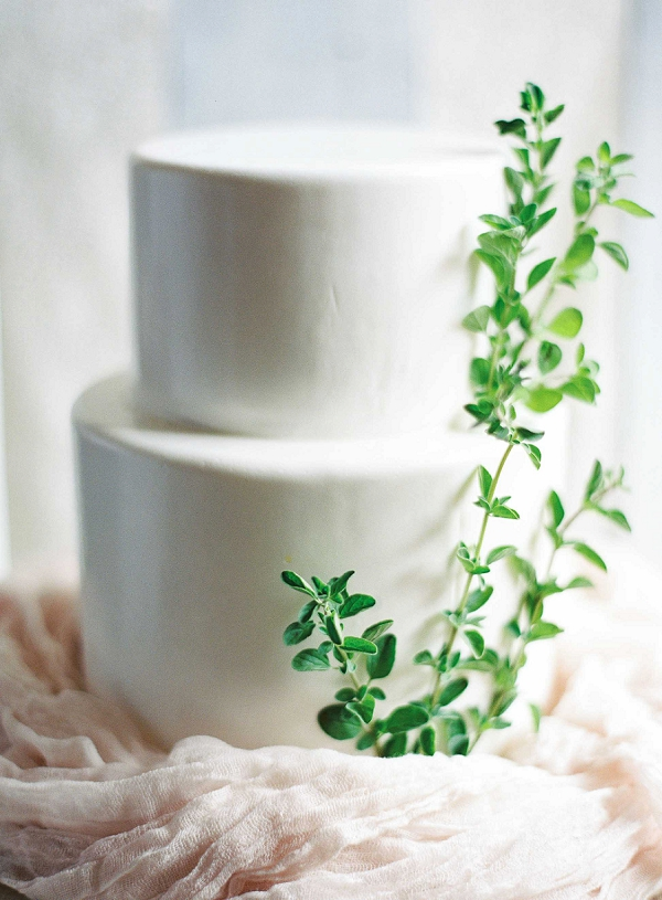 Simple Two Tier Wedding Cake with Greenery | Ethereal Sunrise Bridal Portraits in Hawaii by Christine Clark Photography
