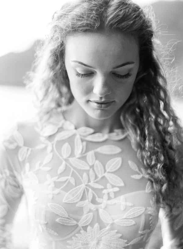 Wedding Dress with Delicate Floral Detailing | Ethereal Sunrise Bridal Portraits in Hawaii by Christine Clark Photography