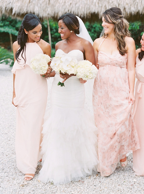 Bridesmaids in Pink at a Classic Beach Wedding in the Tropics | Glamorous Punta Cana Wedding By Melissa Jill Photography