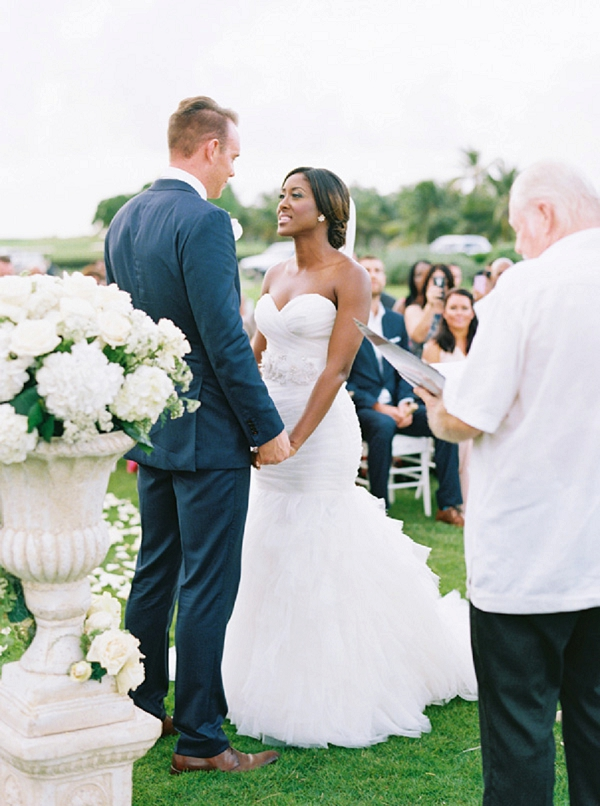Bride and Groom Exchanging Vows | Glamorous Punta Cana Wedding By Melissa Jill Photography