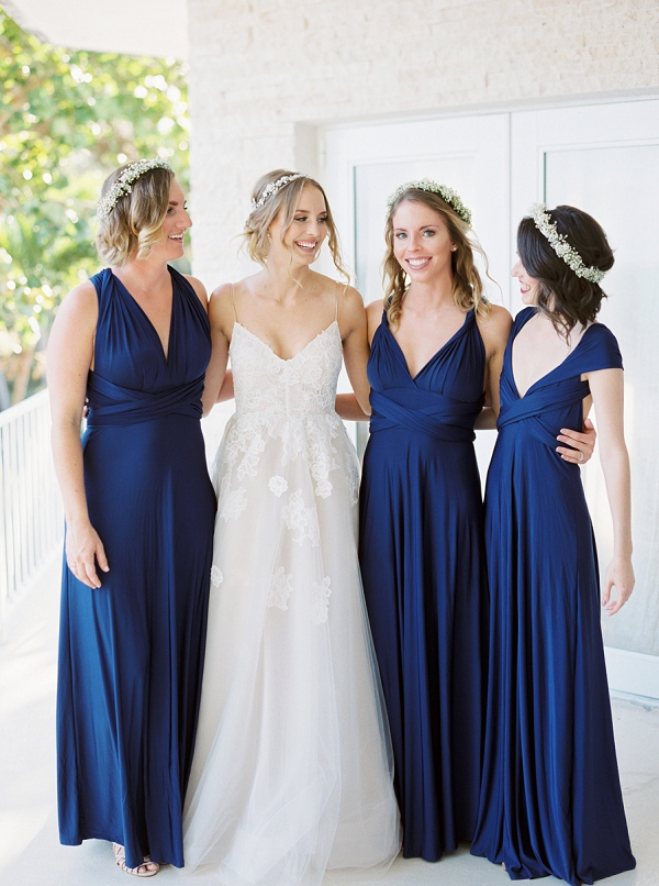 Bridesmaids in Navy Blue Dresses | Islamorada Island Wedding in Florida by Shannon Moffit Photography