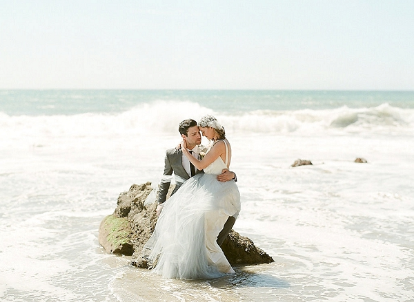 Bride and Groom Seaside Portrait | Out Of Water Malibu Inspiration by Bonphotage Photography