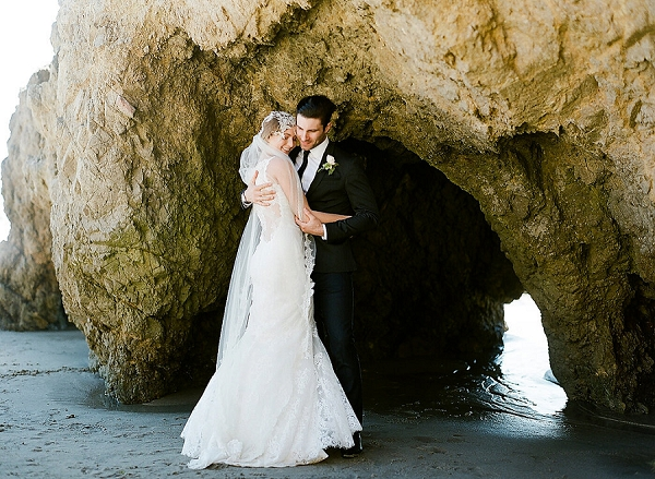 Bride and Groom Coastal Portrait | Out Of Water Malibu Inspiration by Bonphotage Photography