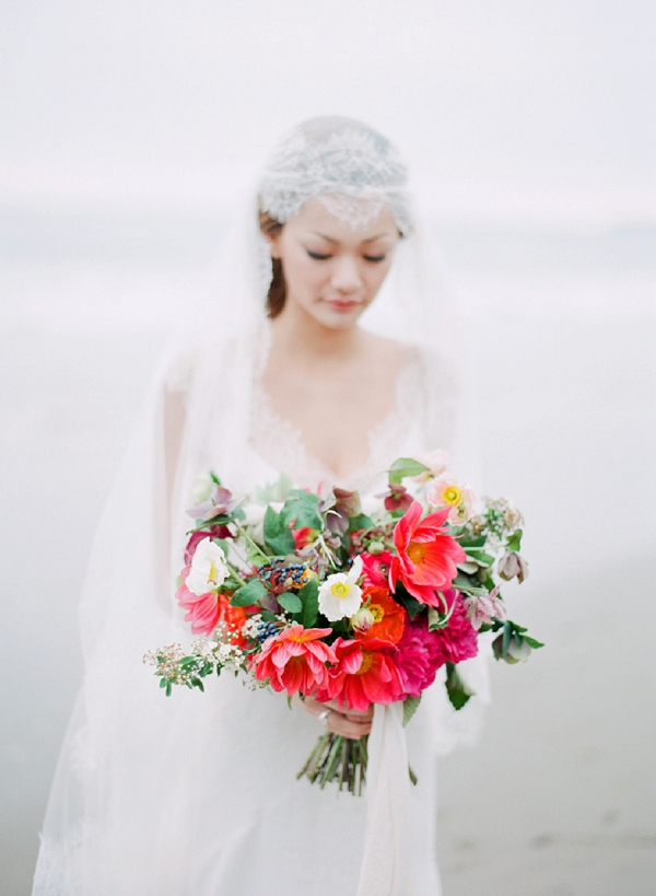 Wedding Bouquet By Poppies and Posies | Serene Seaside Bride and Groom Portraits By Meg Fish Photography