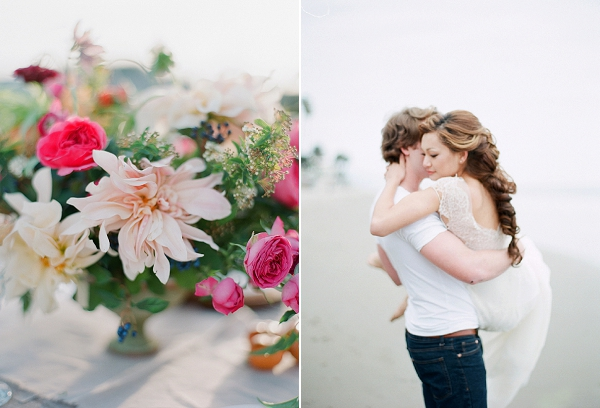 Pink Floral Centerpiece | Serene Seaside Bride and Groom Portraits By Meg Fish Photography
