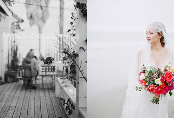 Bride with Lush Bouquet | Serene Seaside Bride and Groom Portraits By Meg Fish Photography