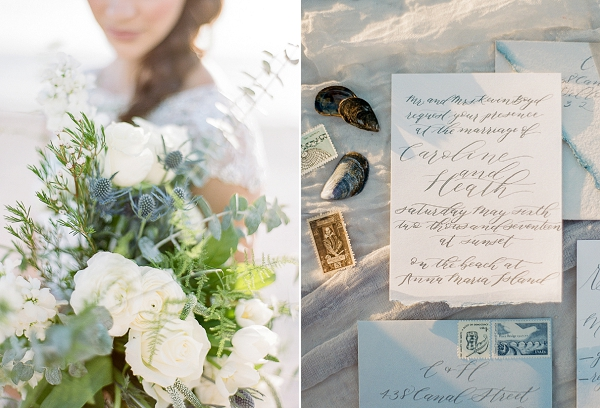 Calligraphy Invitations Suite | Romantic Beach Wedding Inspiration by The Ganeys