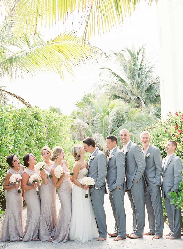 Bride and Groom with Bridal Party | Riviera Maya Mexico Beach Wedding By Kayla Barker Fine Art Photography