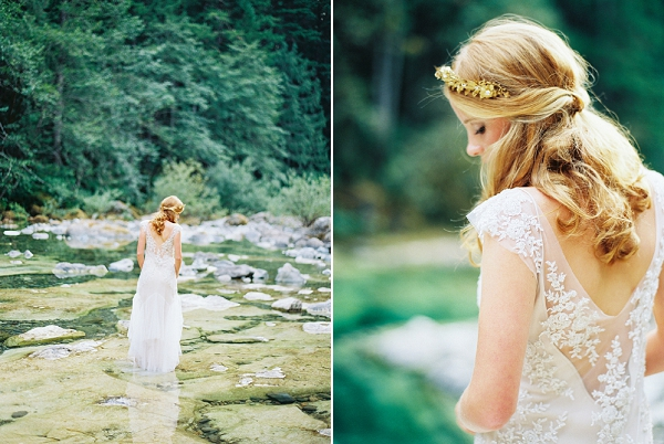 Sarah Janks Wedding Dress With Floral Appliques   Organic Outdoor Bridal Inspiration by Anne Brookshire Photography