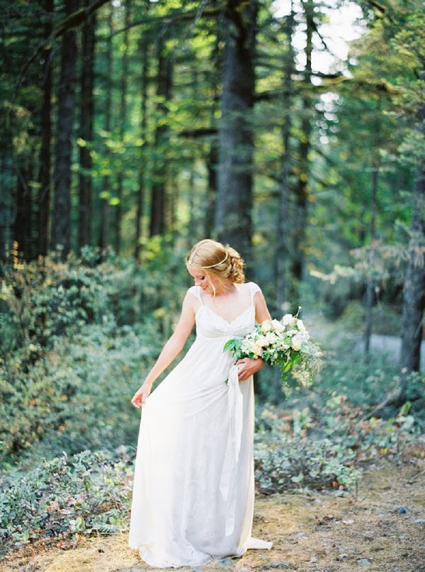 Bride with Lush Bouquet   Organic Outdoor Bridal Inspiration by Anne Brookshire Photography