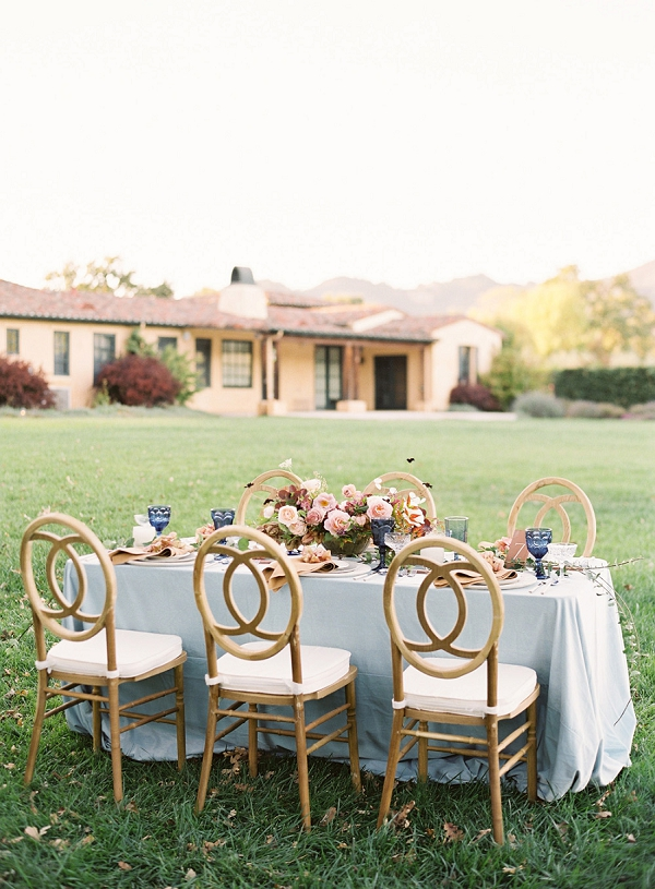 Reception Table With Light Blue Linen   Villa Di Baci Editorial from Lynette Boyle Photography