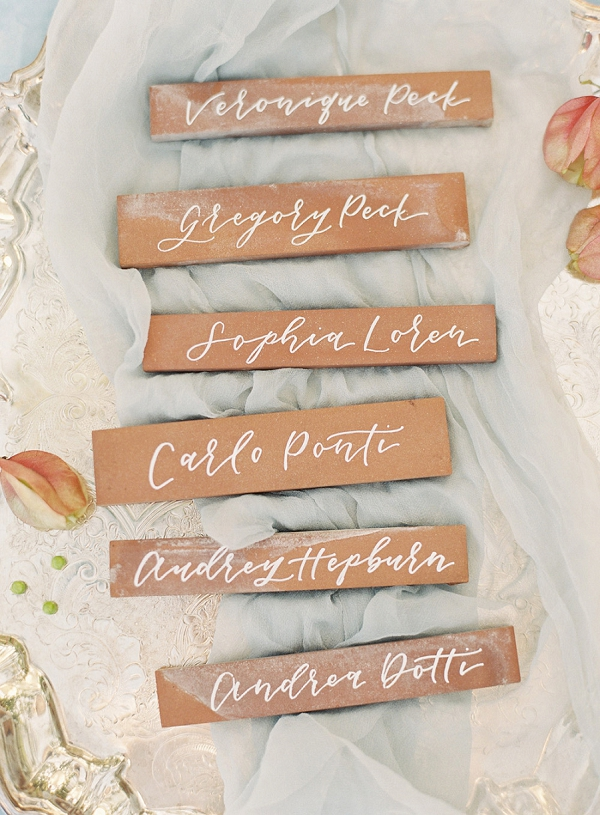Calligraphy Place Card Tiles   Villa Di Baci Editorial from Lynette Boyle Photography