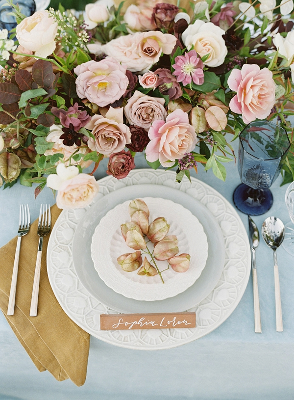 Pretty Floral Centerpiece and Place Setting   Villa Di Baci Editorial from Lynette Boyle Photography