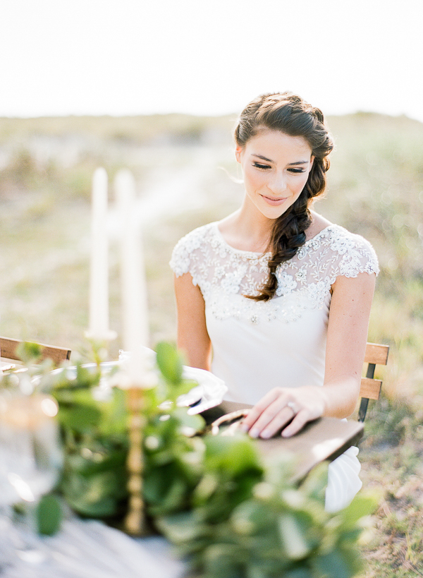 Bride with Fishtail Braid | Romantic Beach Wedding Inspiration by The Ganeys