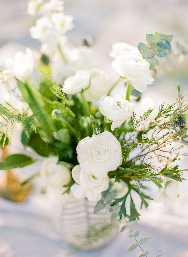 White Floral Centerpiece | Romantic Beach Wedding Inspiration by The Ganeys