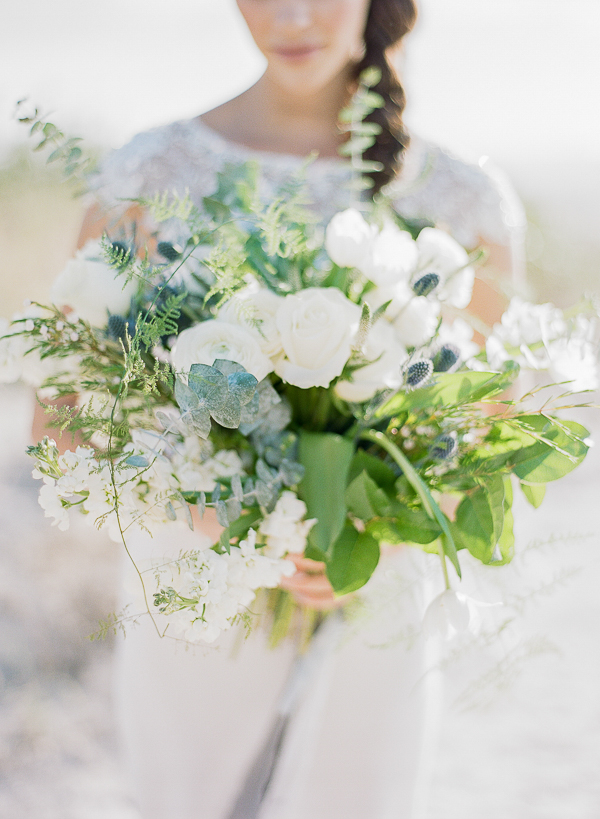 Lush Organic White Bouquet | Romantic Beach Wedding Inspiration by The Ganeys
