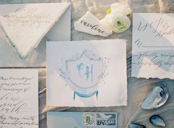 Watercolor Monogram | Romantic Beach Wedding Inspiration by The Ganeys