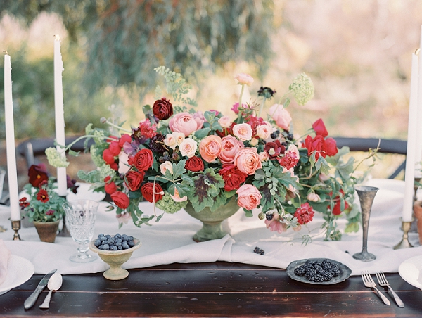 Red and Pink Floral Centerpiece | Elegant Tuscan Inspired Elopement by Gaby J Photography