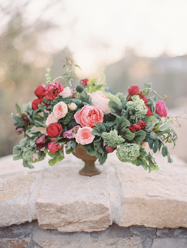 Romantic Floral Centerpiece   Elegant Tuscan Inspired Elopement by Gaby J Photography
